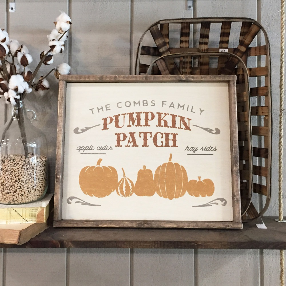 pumpkin patch framed wood sign ar workshop