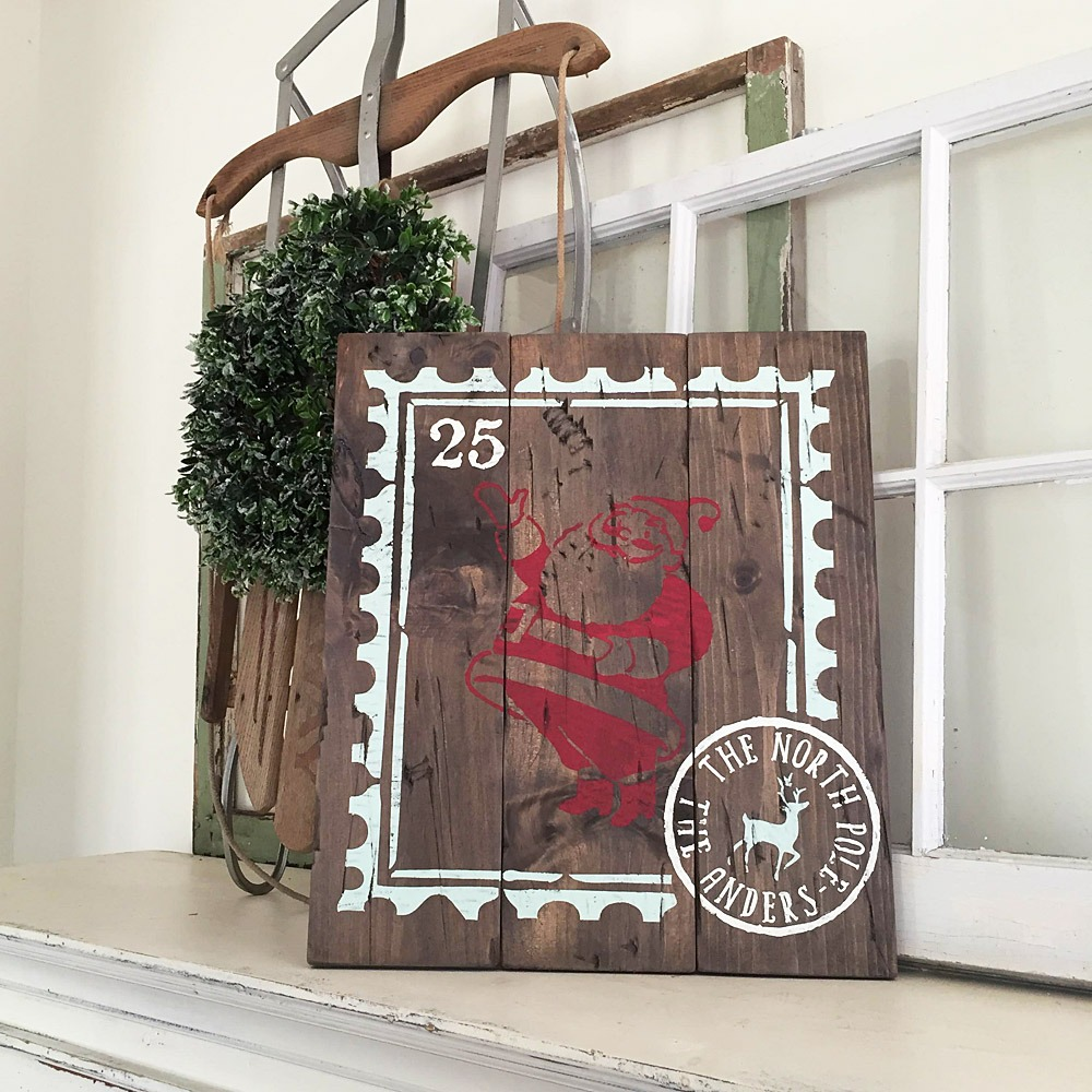 vintage santa wood sign ar workshop plank christmas