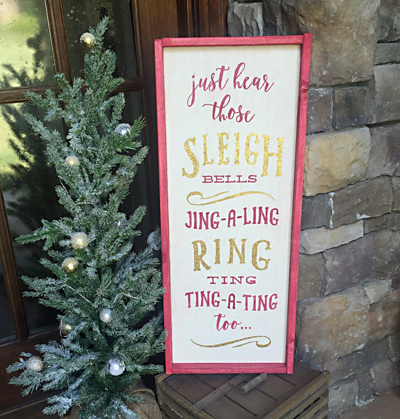 framed sleigh bells wooden sign ar workshop