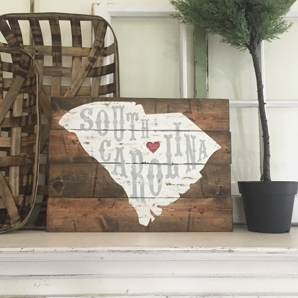 South carolina wood sign plank