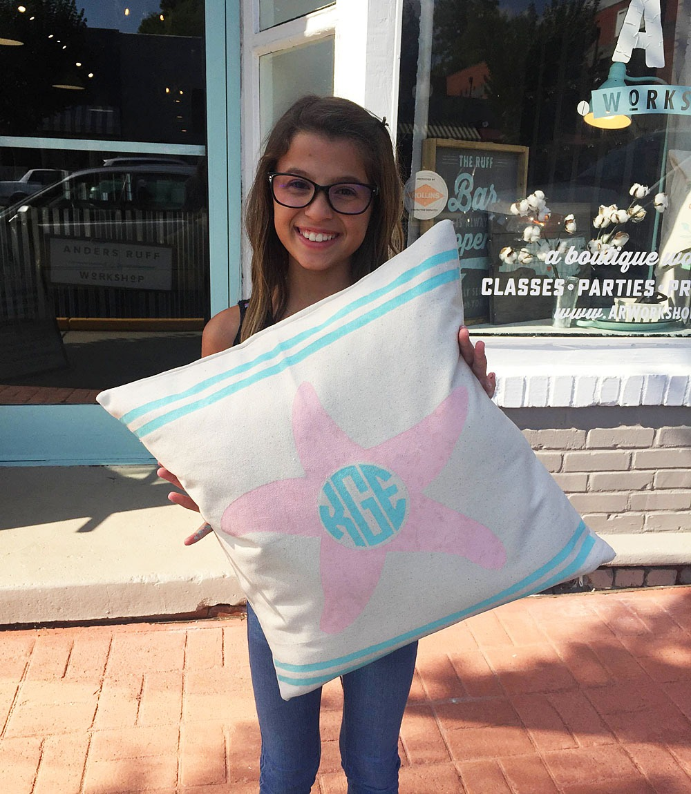 starfish and stripes monogram pillow workshop ar workshop
