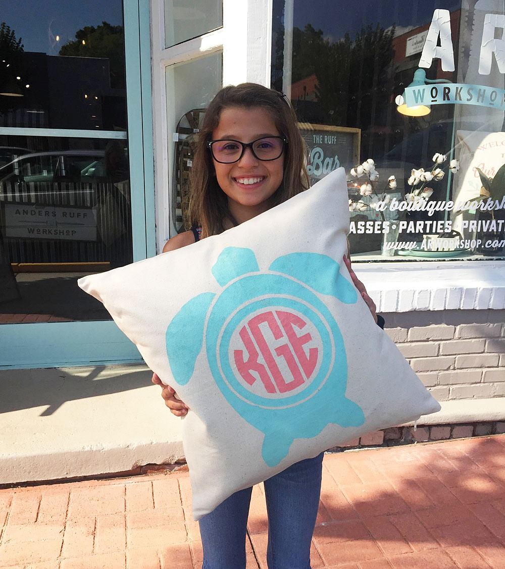 monogrammed turtle pillow ar workshop