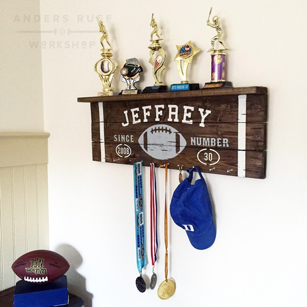 vintage football wood sign trophy shelf