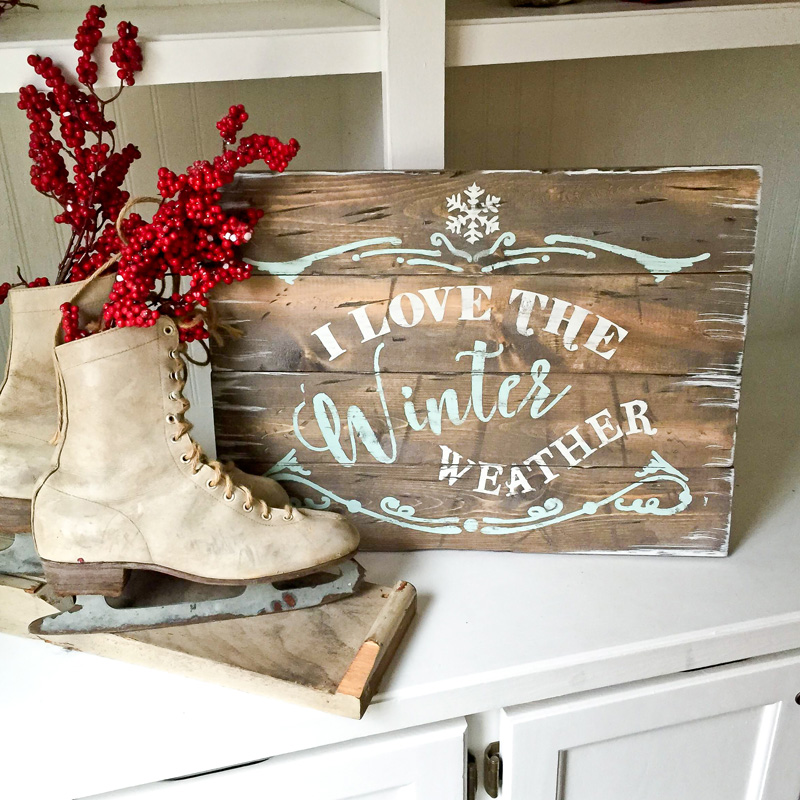 winter weather wood sign plank christmas