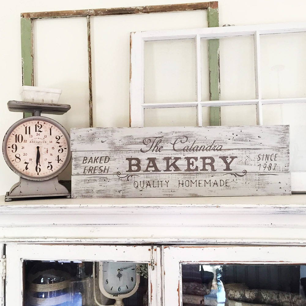 wood bakery sign at ar workshop plank