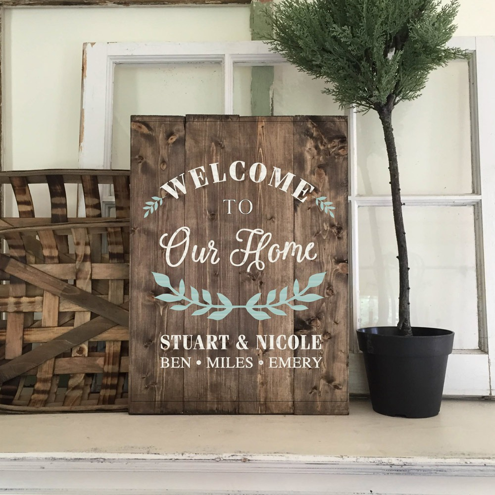 wood welcome sign made at AR Workshop plank