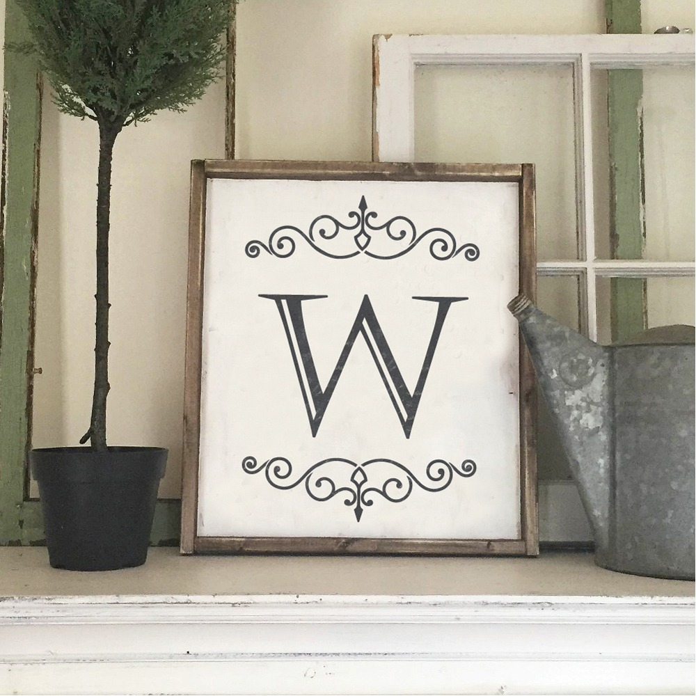 Flourish monogram wood sign