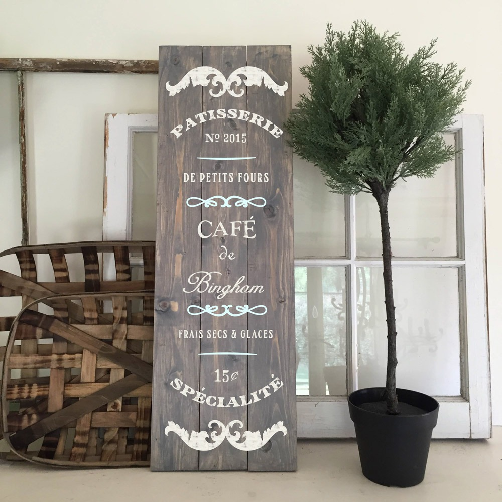 French cafe wood sign ar workshop pineville plank