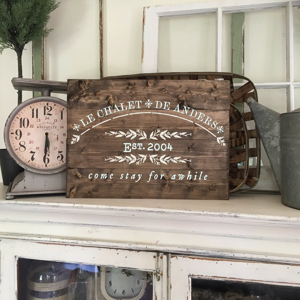 french come stay for awhile wood sign plank