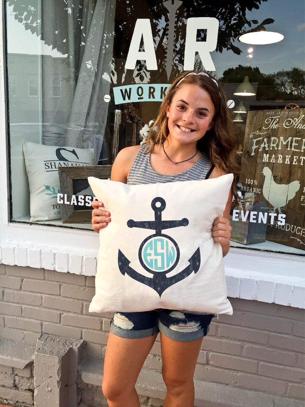 ar workshop anchor pillow monogrammed