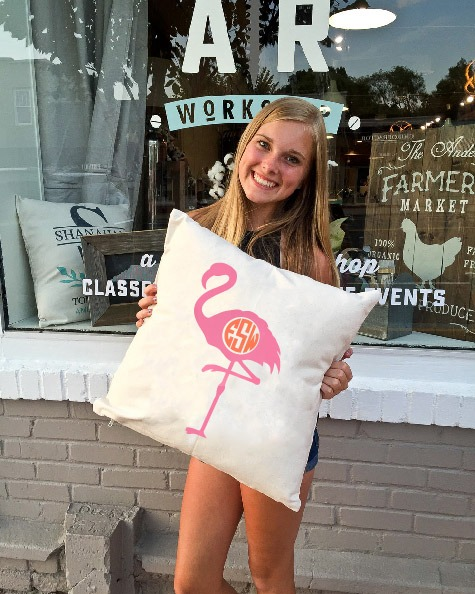 monogrammed flamingo pillow ar workshop