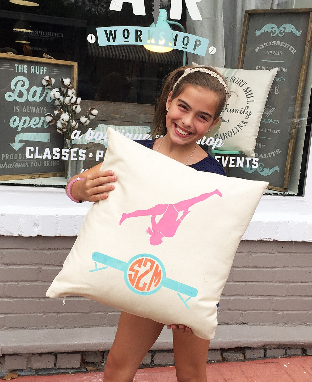 monogrammed gymnast pillow ar workshop