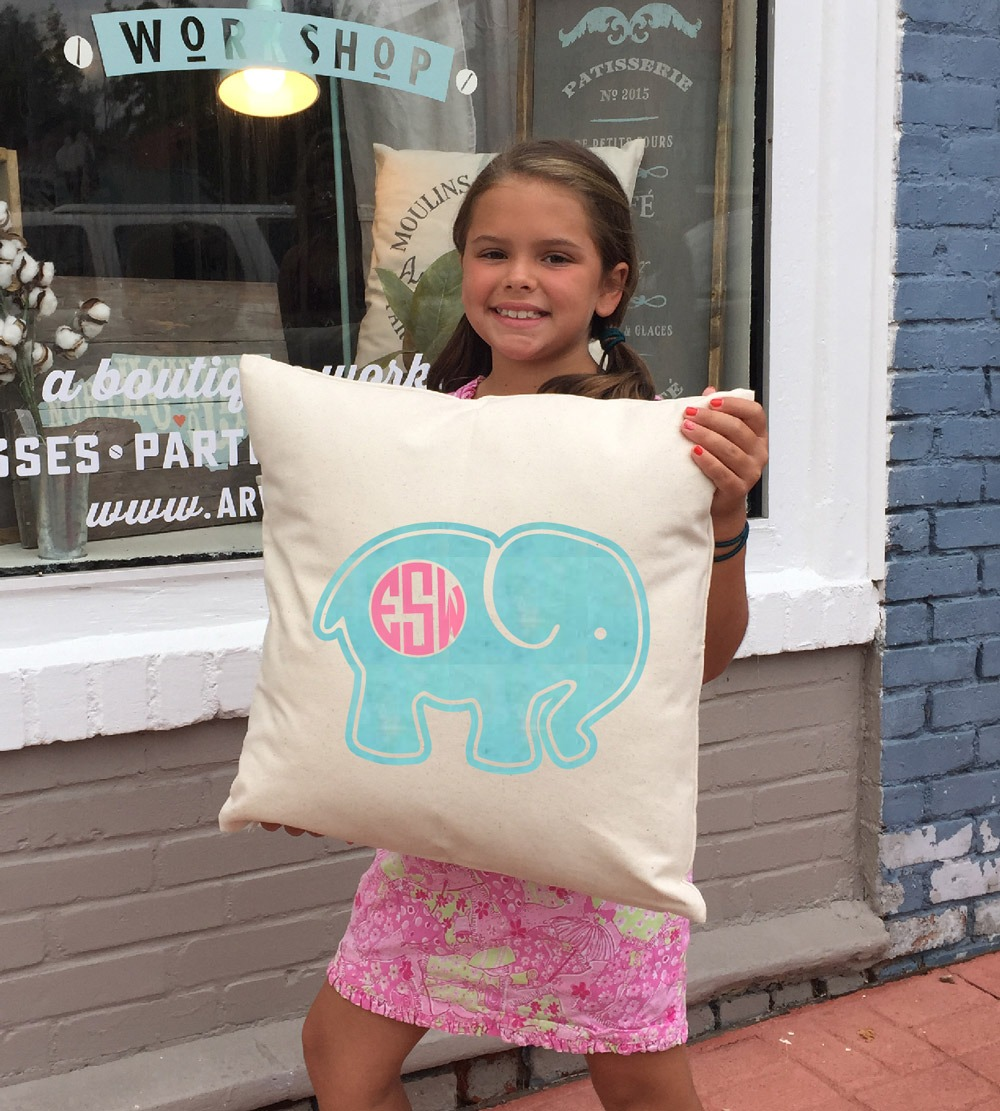 elephant monogram pillow ar workshop