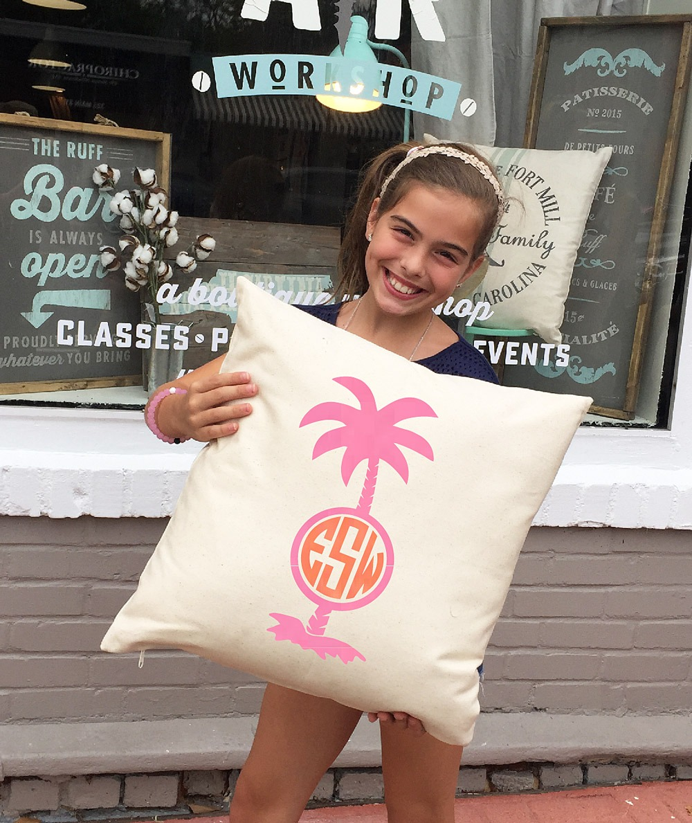 monogram palm tree pillow ar workshop