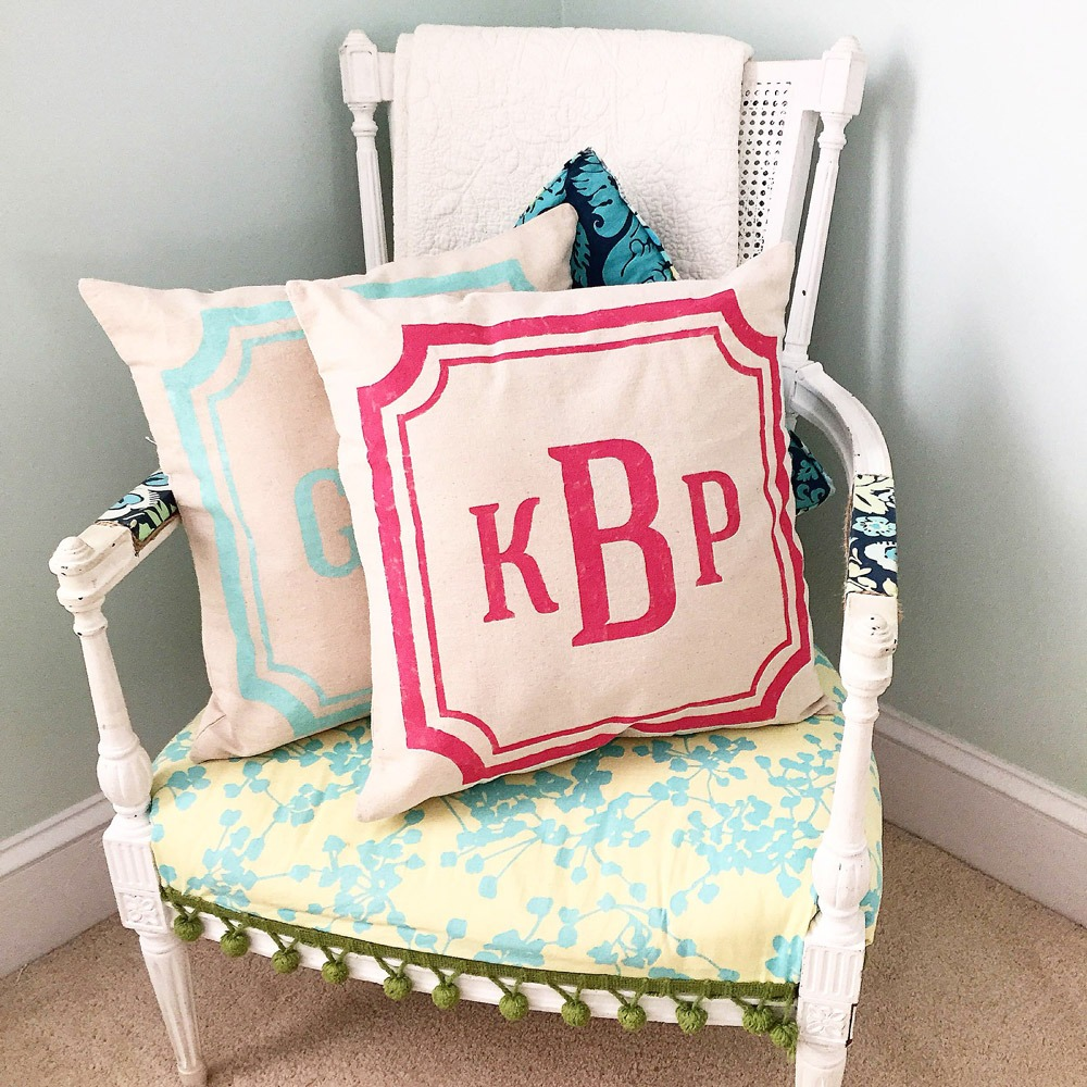 AR workshop preppy monogram pillow