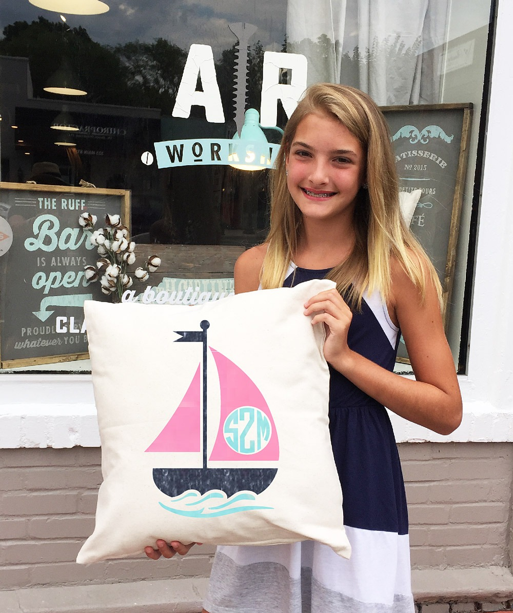 ar workshop sailboat monogram pillow