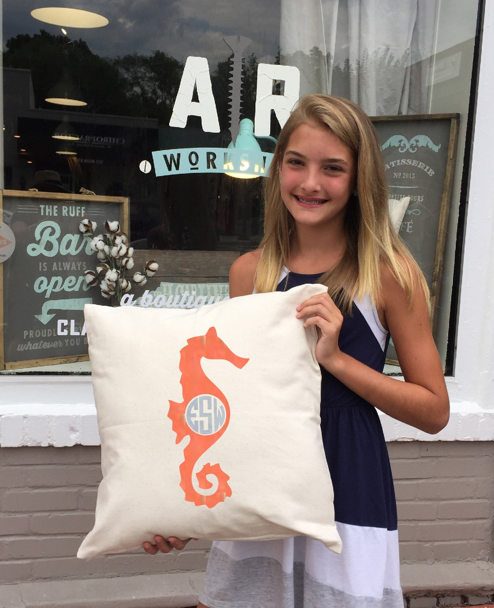 monogram sea horse pillow ar workshop