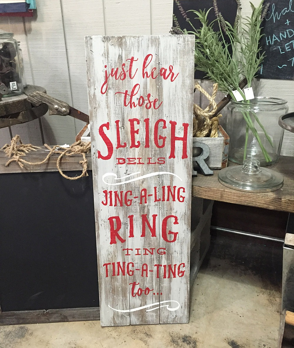sleigh bells ring wood sign ar workshop plank