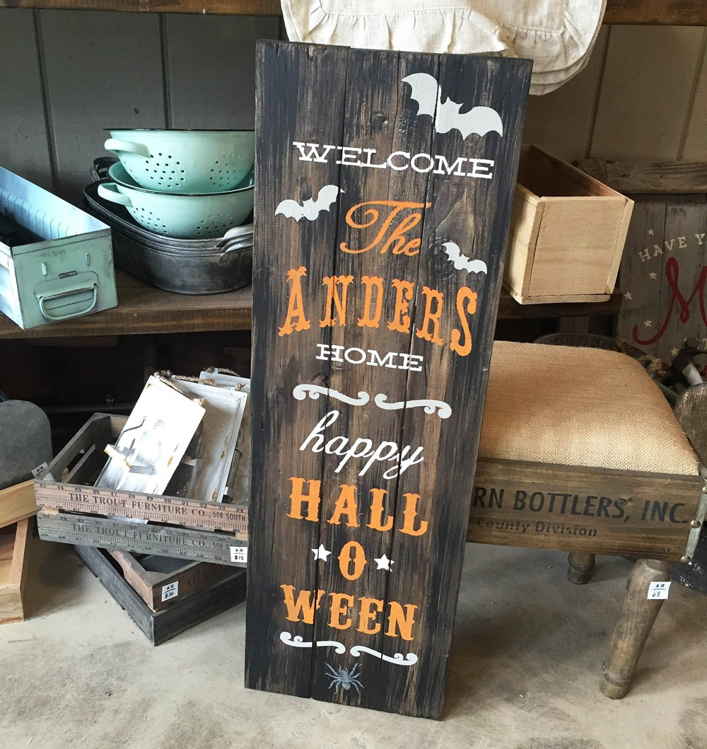 wood halloween porch sign ar workshop plank