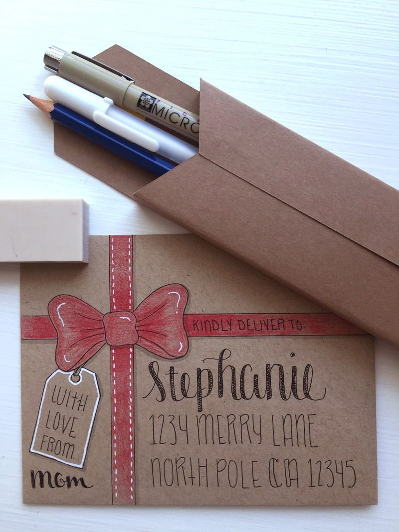 creative envelope hand lettering class with lighthouse paper company