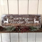 north pole reindeer rudolph christmas wood sign ar workshop plank