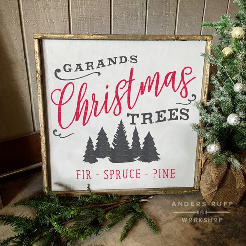 fresh cut christmas trees wood sign rustic holiday sign ar workshop