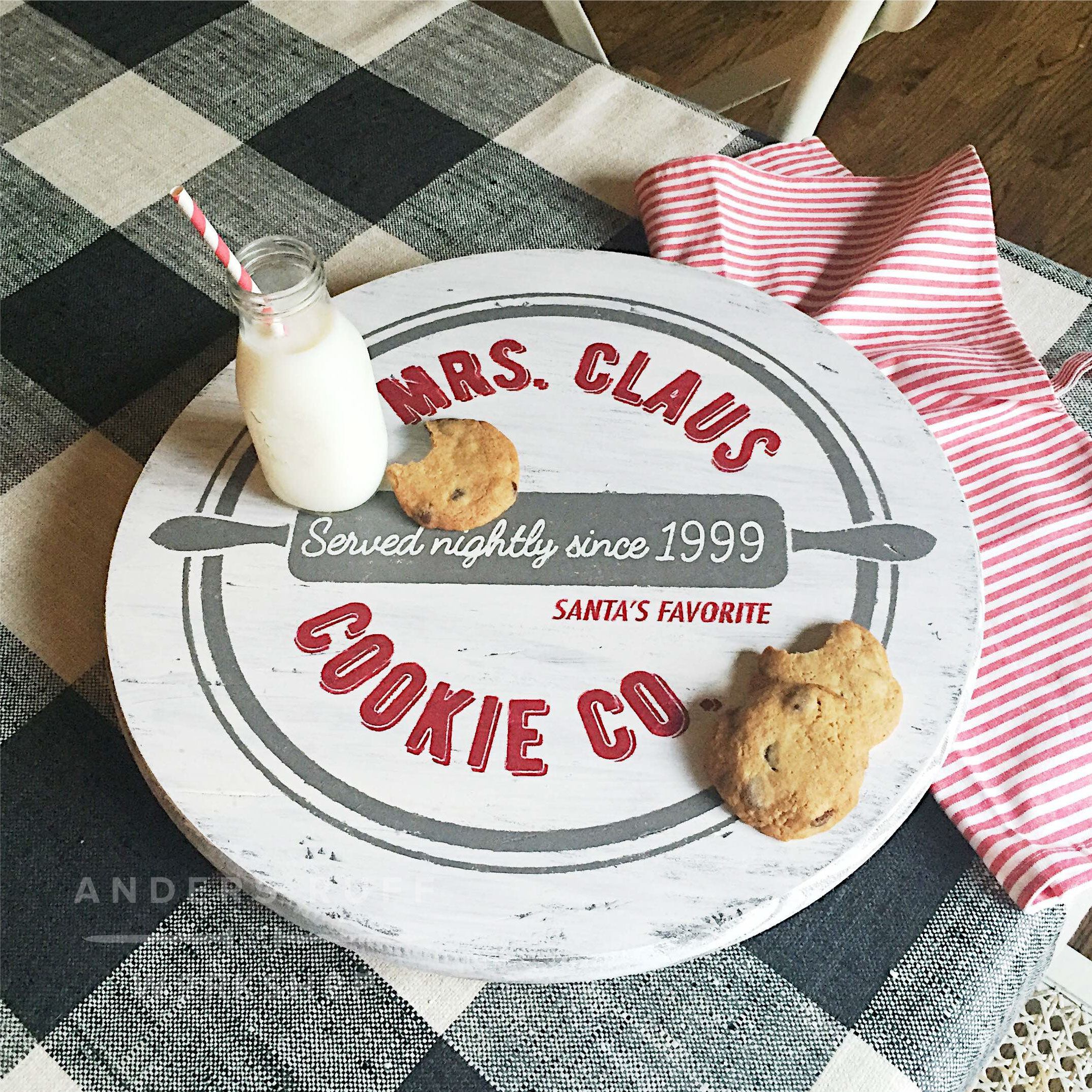 christmas cookies lazy susan wood sign