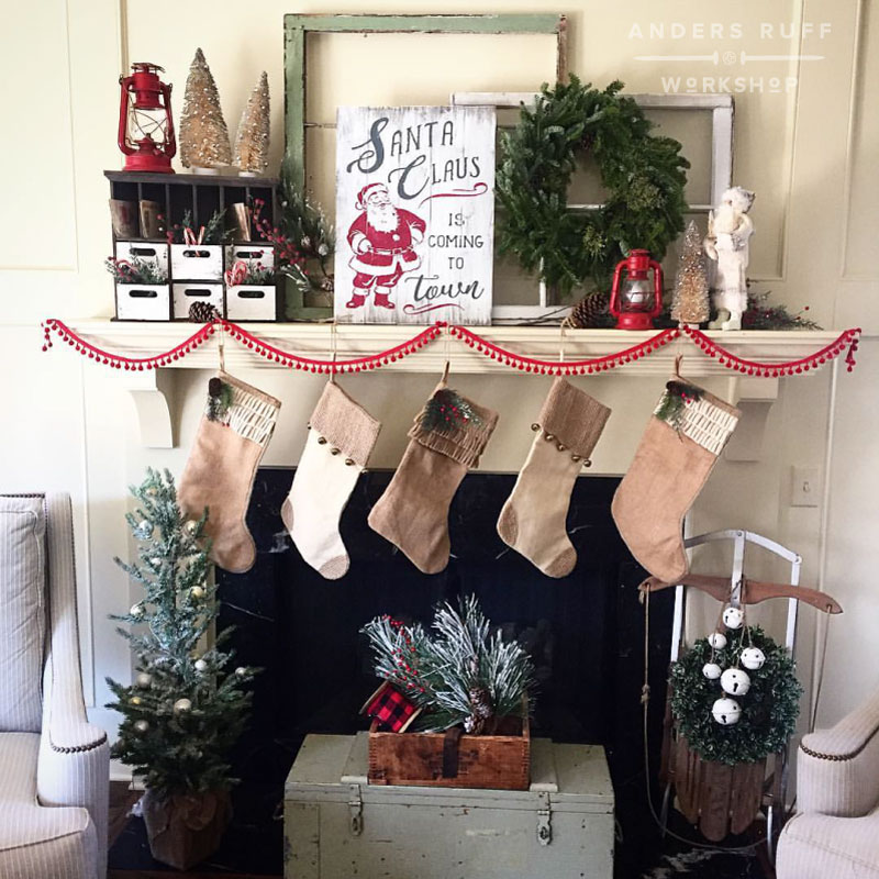 preferred ar workshop holiday wood signs and a rustic christmas mantle ar lx62 - Rustic Christmas Stocking