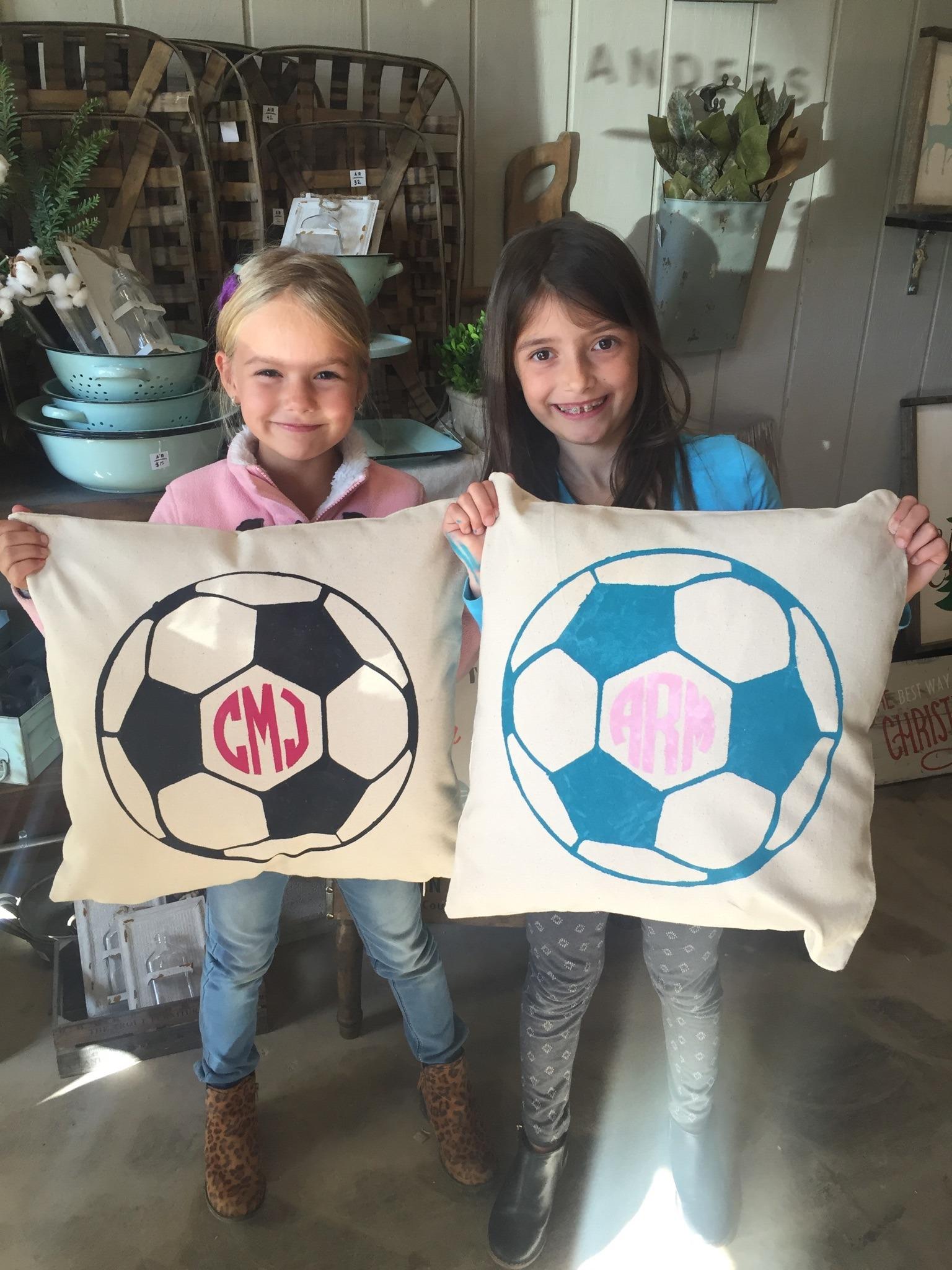 soccer pillow diy workshop monogram