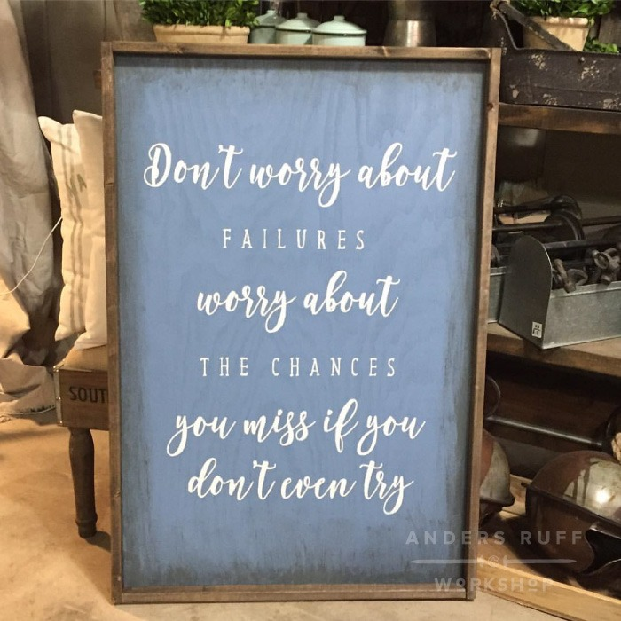 failure quote wood sign ar workshop