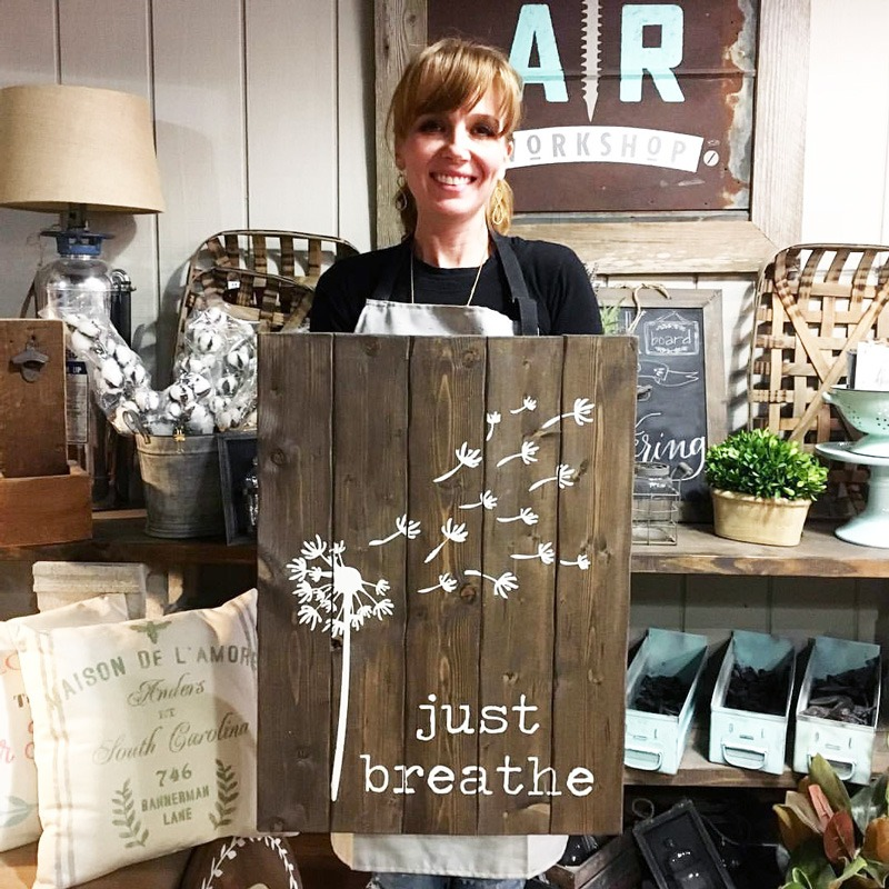 Just Breathe Wood Sign ar workshop painting and wine making class plank