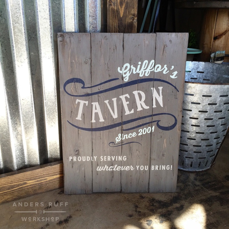 wood bar tavern established man cave sign plank
