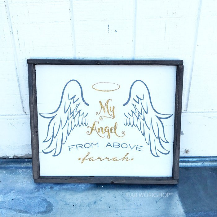 angel holiday wood sign