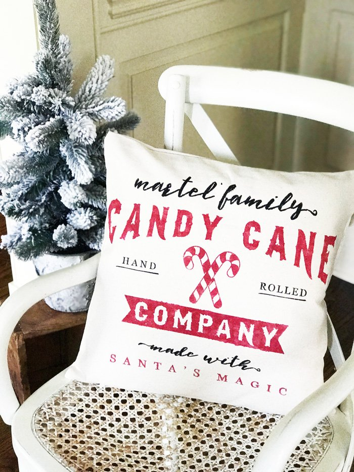 candy cane diy pillow