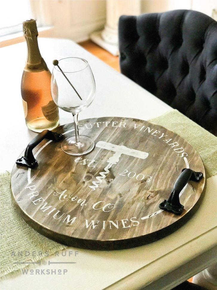 DIY wood tray winery wood sign