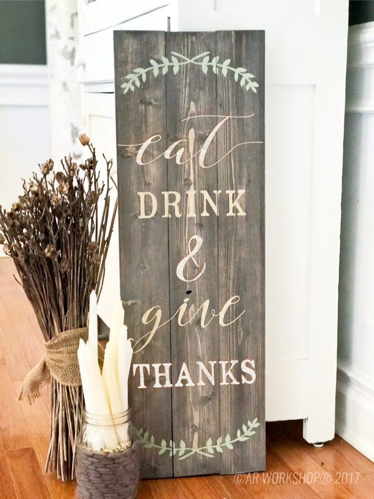 eat drink and give thanks diy wood sign