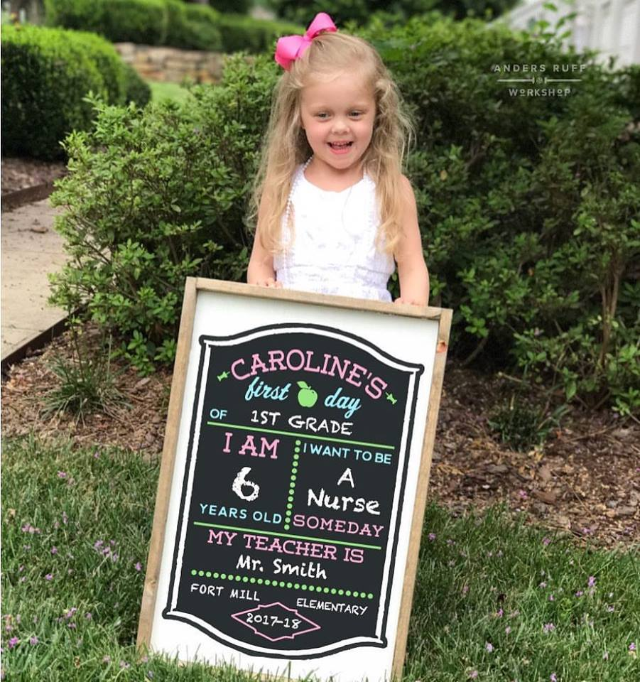 First Day of School Chalkboard Framed Sign