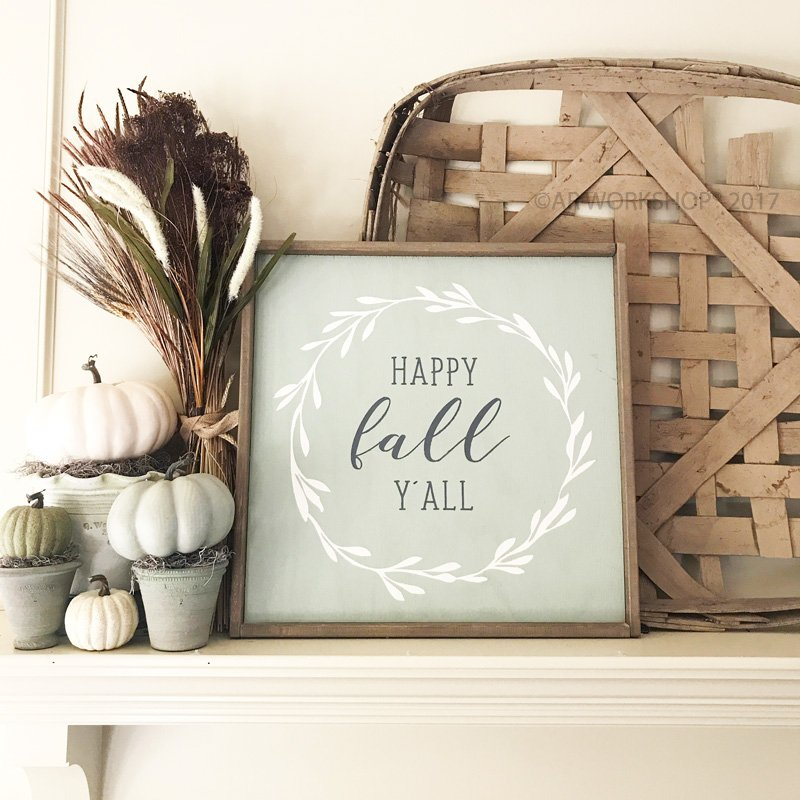 large framed wood sign diy happy fall yall mantle decor