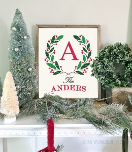 holiday boxwood wreath monogram sign christmas sign