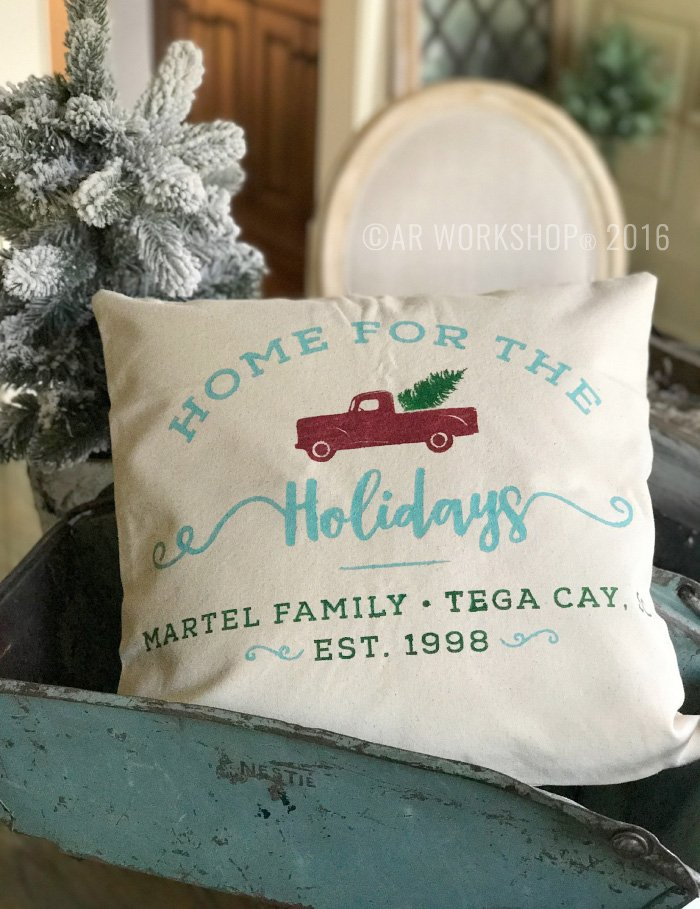 vintage red truck christmas tree pillow
