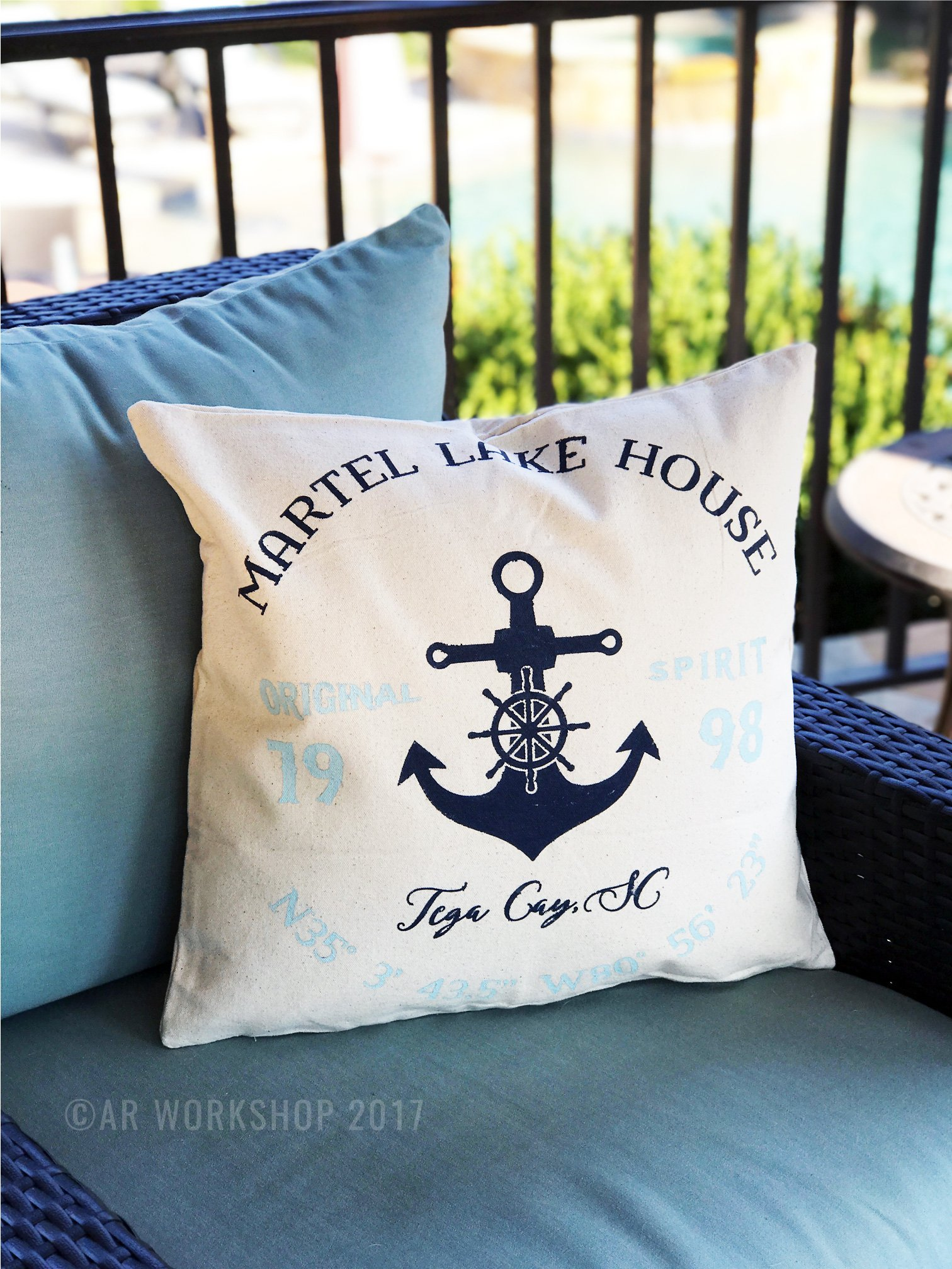 lake house anchor coordinates pillow