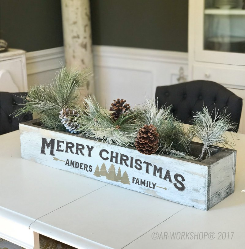 merry christmas trees centerpiece box diy