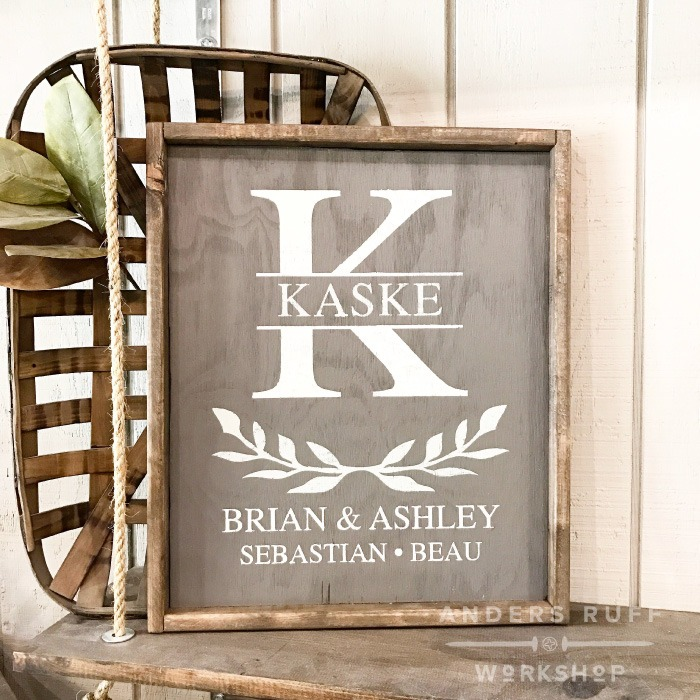 monogram crest family wood framed sign