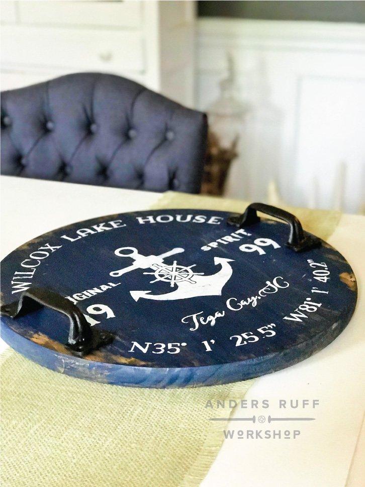 DIY nautical wood round tray