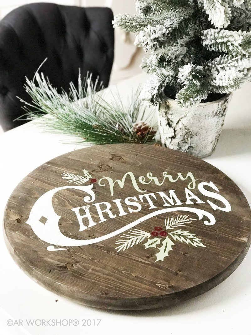 vintage merry christmas lazy susan