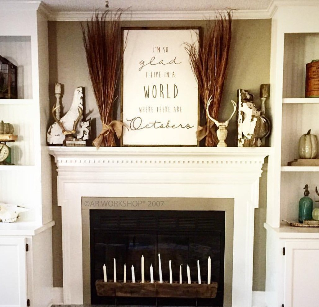 diy fall mantle wood sign