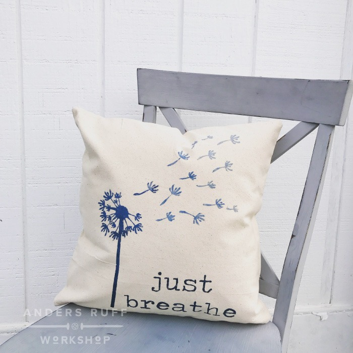 just breathe pillow diy pillow painting workshop