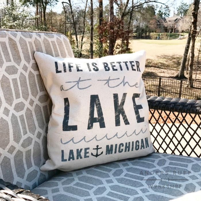 life is better at the lake pillow personalized lake house pillow