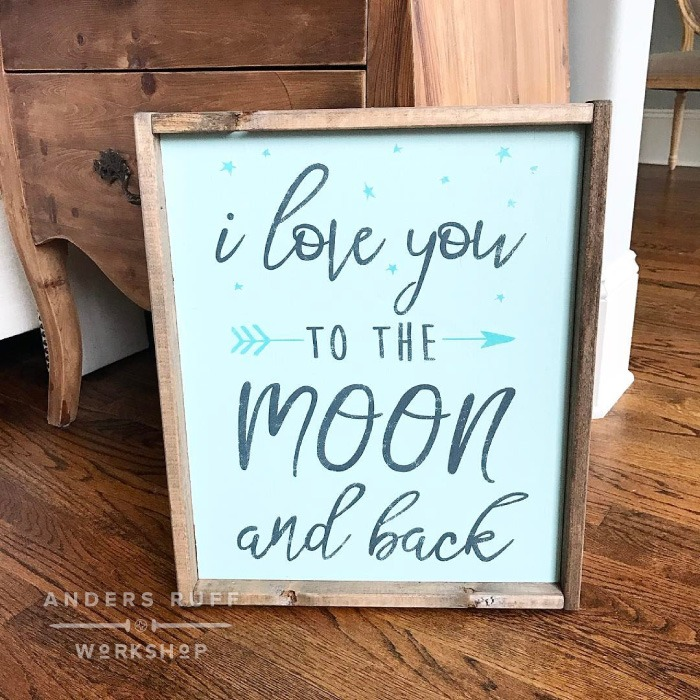 love you to the moon wood sign diy project tutorial