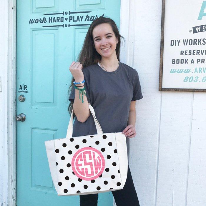 monogram tote bag diy how to